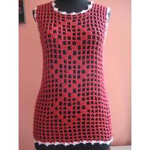 Musculosa Tejida Al Crochet Roja Con Bordes En Blanco Med