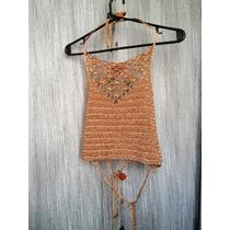 Top Dorado Tejido A Crochet. En Viscosa