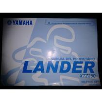 Manual De Usuario Para Yamaha Xtz 250. Nuevo.