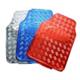 Alfombras Simil Aluminio 4 Piezas - Plata Azul Rojo Negra