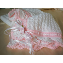 Mantilla/ Mantita Para Bebé Tejida A Mano Al Crochet