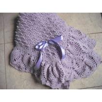 Pañoleta- Mantita- De Lana Color Lavanda Tejida Al Crochet