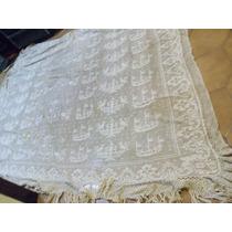 Antigua Colcha Hilo Crochet Con Flecos Exquisita
