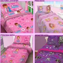 Juego Sabana Infantil 1 1/2 Minnie Dc Juguetes Princesas