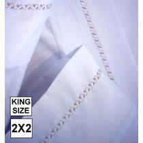 Sabanas Blancas Bordadas King Size 2x2-180 Hilos 12 Cuotas!