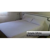 Sabanas Blancas Hoteleras 2 Plaza Y 1/2 Real 180 Hilos Sw