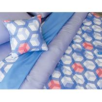 Acolchado Reversibl + Jgo Sabanas Linea Soft 2 Plaza Cartier