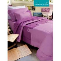 Acolchado Kit 1 1/2 Plaza +1 Almohadon Violeta Y Purpura Bh