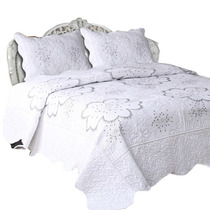 Cubrecama Bordado Quilt Cover Queen Premium + 2 Fundones!