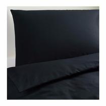 Ikea - Juego De Funda Nordica + Almohada Dvala Queen Negro