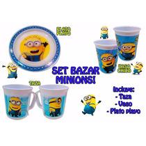 Set Bazar Minions Taza + Vaso + Plato Mi Villano Original