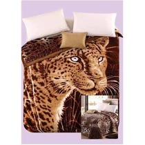 Frazada Triple Simil Piel Animal Print Reversible 2 1/2plz
