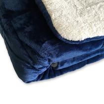 Edredon Super Soft De Flannel Con Corderito King Size Azul