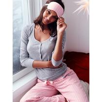 Victorias Secret Pijama Remera Pantalon Mascara Ojos Talle M