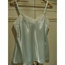 Pijama Seda Verde Agua Y Guipiur: Short + Musculosa Talle M