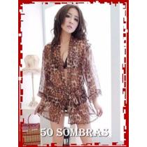 Conjunto + Bata Animal Print Sexy - Lenceria 50 Sombras