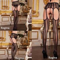 Medias Con Portaligas Can Can Abierto Lencería Sexy Regina