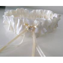 Liga Novia Casamiento Con Cristal Swarovski Satén Plisado