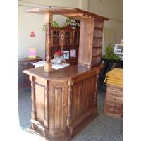 Barra Bar Curvo De 1,20 De Pino Lustrado Color Algarrobo