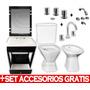 Combo Baño Vanitory Sanitario Grifería Espej + Set De Regalo