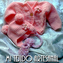 Sweter - Saquito Y Gorrito Para Tu Bb Tejido Al Crochet
