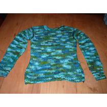 Sweter De Lana Tejido A Mano Colores Combinados Talle M