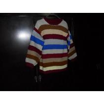 Pullover Rayado Multicolor Tejido Con Lana Gorda Vintage