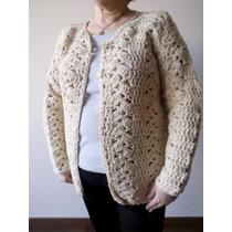 Saco De Lana Artesanal Natural- Nuevo - Tejido Crochet - Xxl