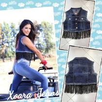Chaleco Denim Mujer C/ Flecos - Xoara Jeans
