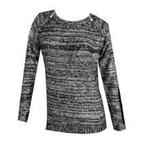 Sweater Pullover Negro Con Brillos Dorados-talle Unico (m/l)