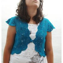 Bolero Tejido Al Crochet En Color Petróleo- Artesanal
