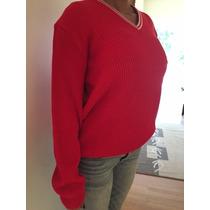 Sweater Pullover Escote V Hombre Y Dama Color Rojo