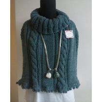 Sweater Poncho Tejido Lana - Invierno 2016 Diseño Exclusivo