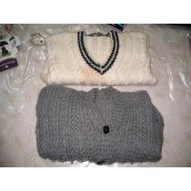 2 Sweaters Pulloveres Lana Tejido A Mano Crema Y Gris Leer