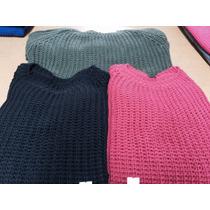 Sweater Tejido De Mujer Escote Redondo Y Punto Grueso