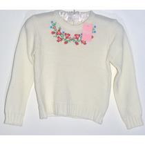 Sweater De Lana Para Nena Con Flores Bordadas Marca: Nucleo