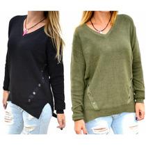 Sweater Verde Militar Negro Mujer