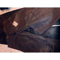 Pantalones De Cuero, Negro Y Marron Africano,t,25