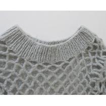 Sweater Gris Perla Calado Impecable Diseño Agustina Freyre