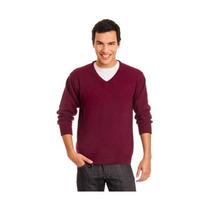 Sweater Pullover Hombre Escote V Bordó Posto 5 Mercado Envío