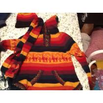 Sweater Con Capucha, Bufanda Y Gorro De Llama