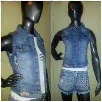 Chaleco De Jeans Elastizado Con Parches Roturas- Importado