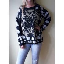 Sweater Mujer Animal Print Con Lurex Dorado- Nueva Temporada