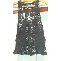 Chaleco Tejido Crochet Negro
