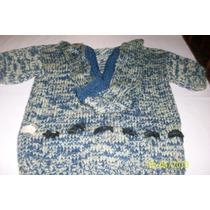 Swetter Tejido Landa. Azul Y Verde De Nena. Talle Unico