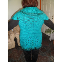 Chaleco Tejido Al Crochet Artesanal De Lana Y Detalles