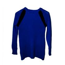 Clippate Sweater Pullover Abrigo En Lana Cuello Redondo Azul