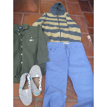Campera Tejida,camisa,pantalon Y Alpargatas Para Niño