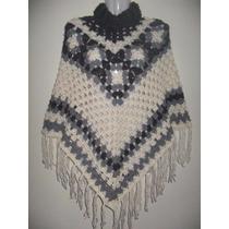 Poncho Tejido A Mano Al Crochet Oferta Todos Los Talles