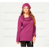 Sweater-pullover-escote Bote-cuello Volcado-poleron